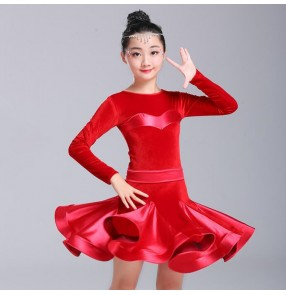 competition latin dresses for girls kids children satin with velvet long sleeves ballroom salsa rumba chacha dancing dresses
